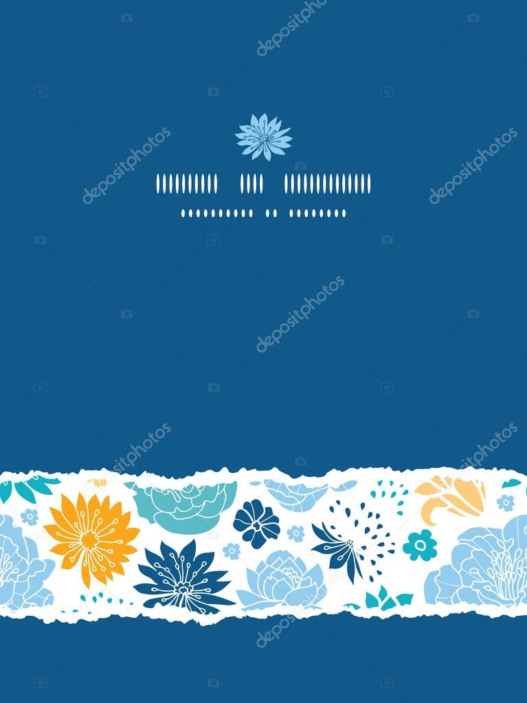 Blue and yellow flower silhouettes torn vertical seamless pattern background