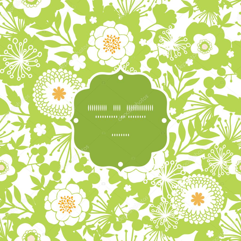Green and golden garden silhouettes frame seamless pattern background