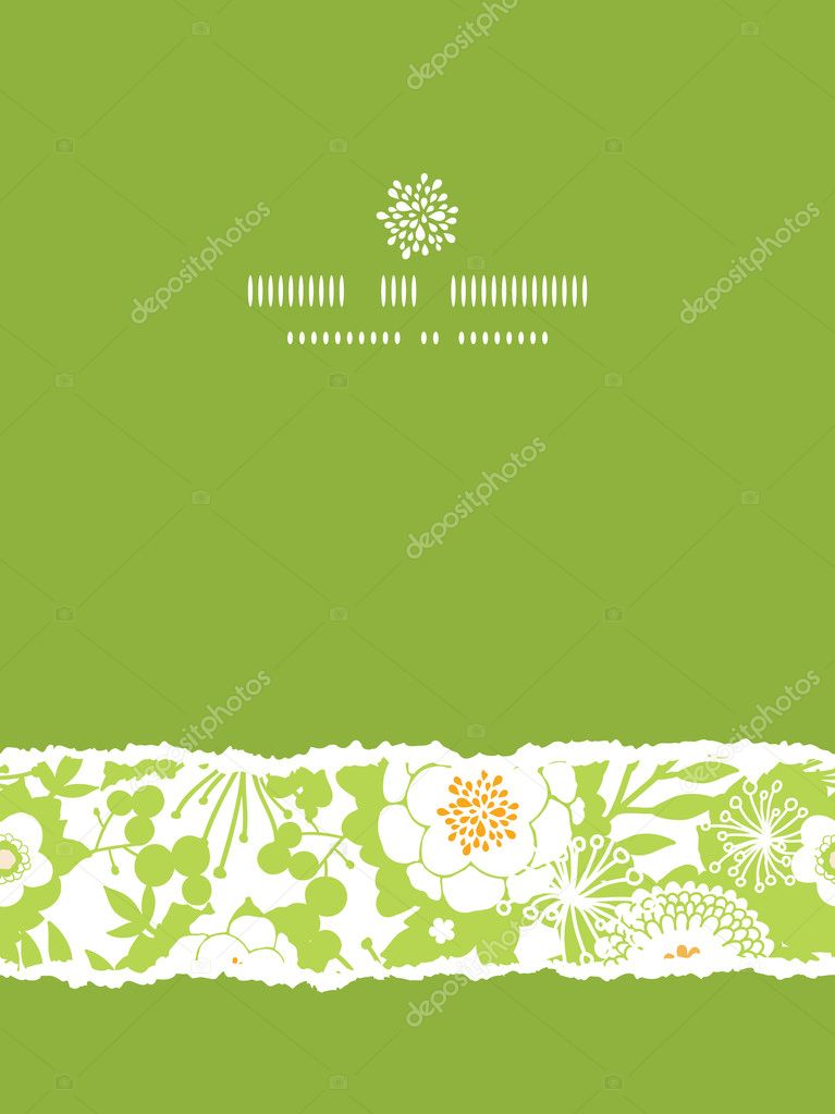 Green and golden garden silhouettes vertical torn seamless pattern background