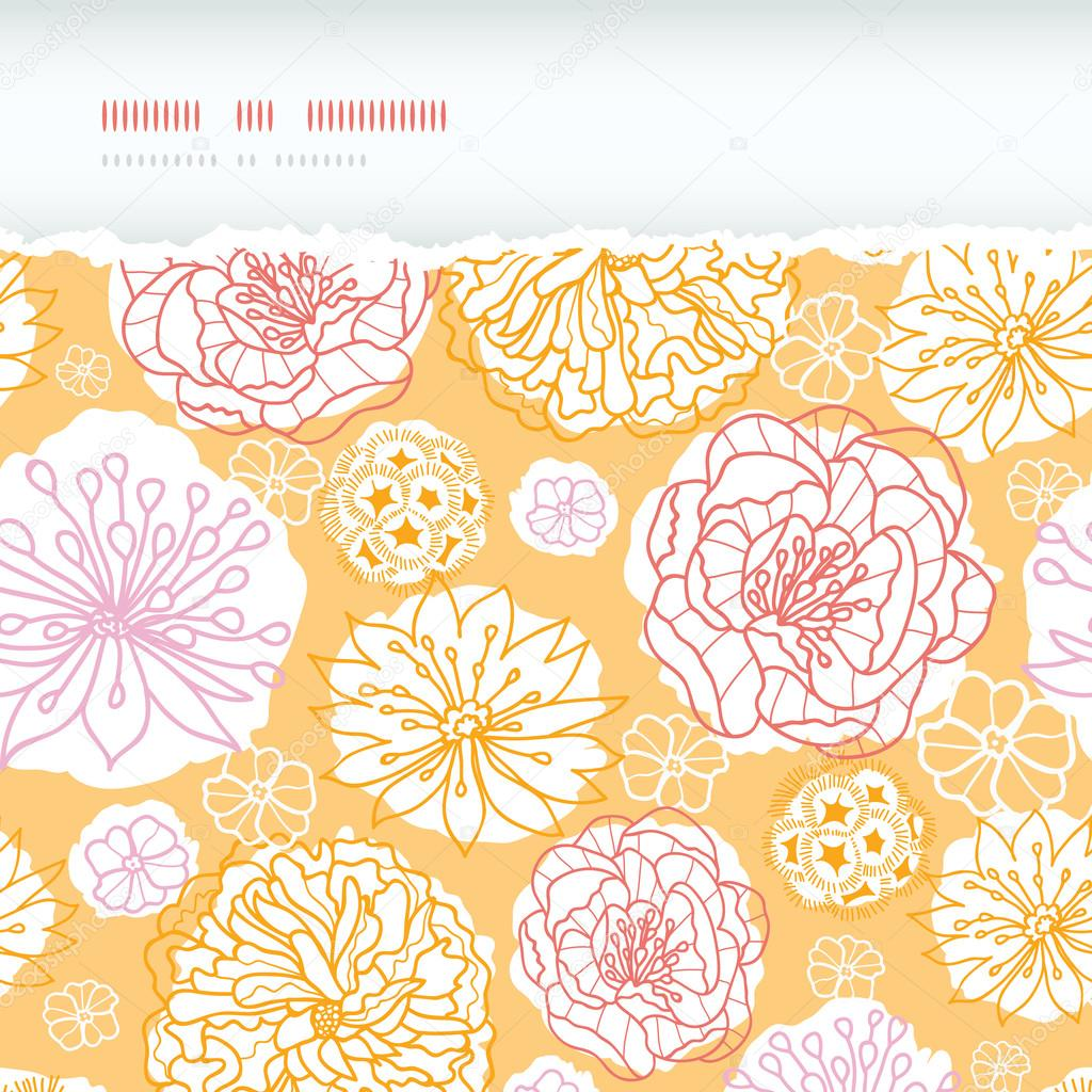 Warm day flowers horizontal decor torn seamless pattern background