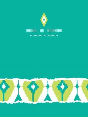 Emerald green ikat diamonds vertical torn seamless patterns backgrounds