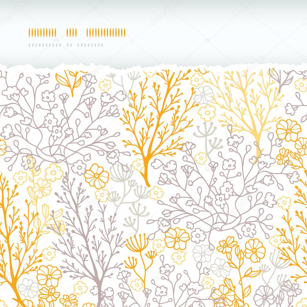 Magical floral horizontal torn seamless pattern background