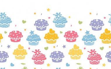 Colorful cupcake party horizontal seamless pattern background
