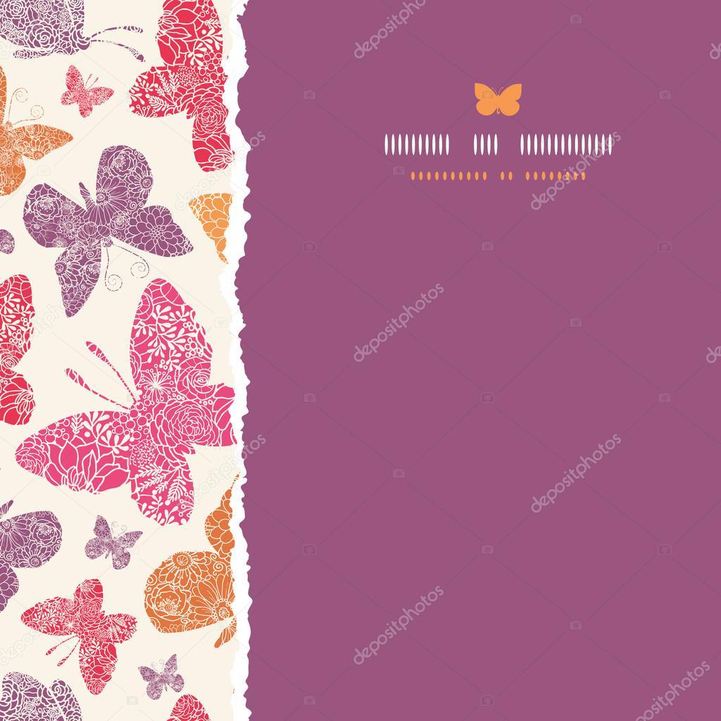 Mariposas flores marco cuadrado transparente de fondo — Archivo ...