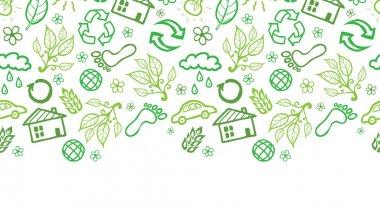Ecology symbols horizontal seamless pattern background border