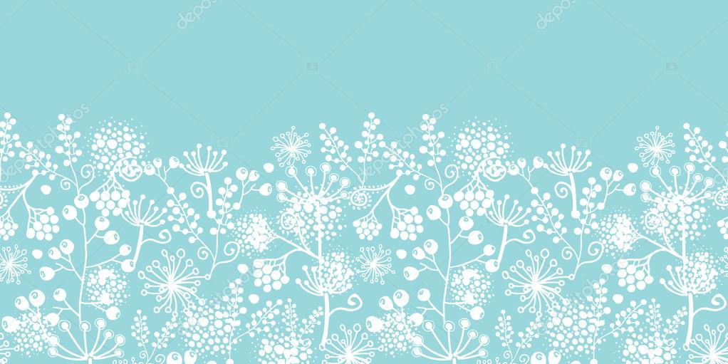 Blue and white lace garden plants horizontal seamless pattern background