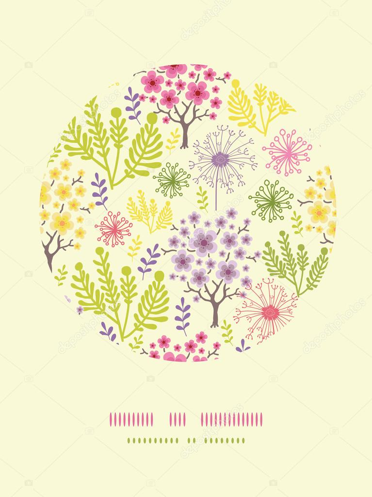 Blossoming trees circle decor pattern background