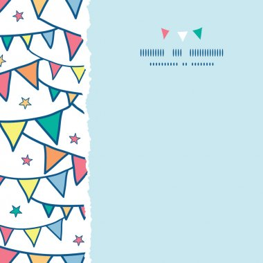 Colorful doodle bunting flags square torn seamless pattern background