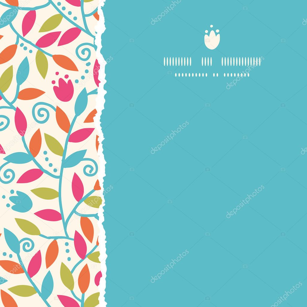 Colorful Branches Square Torn Frame Seamless Pattern Background