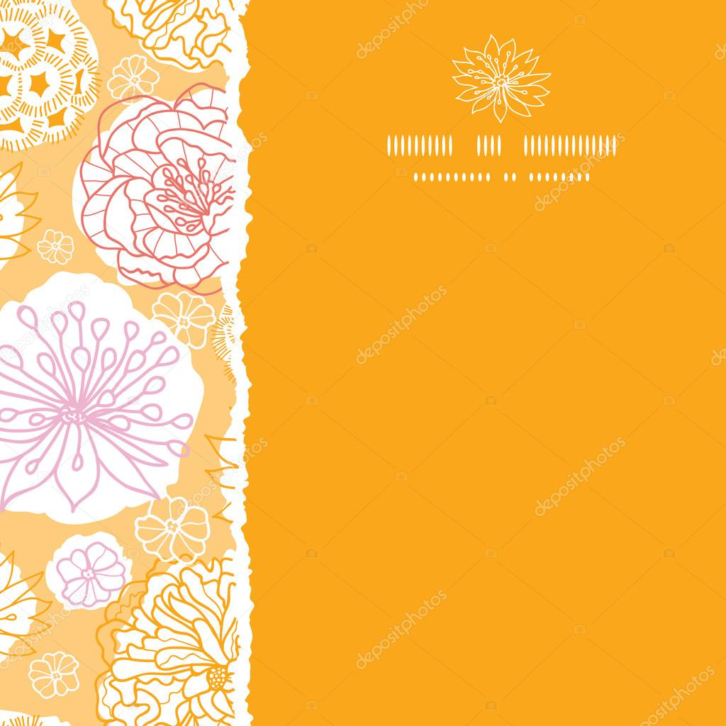 Warm day flowers square decor torn seamless pattern background
