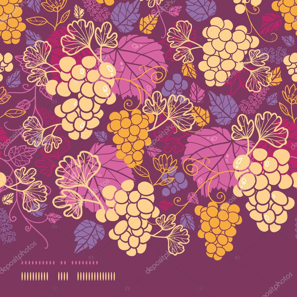 Sweet grape vines horizontal border seamless pattern background