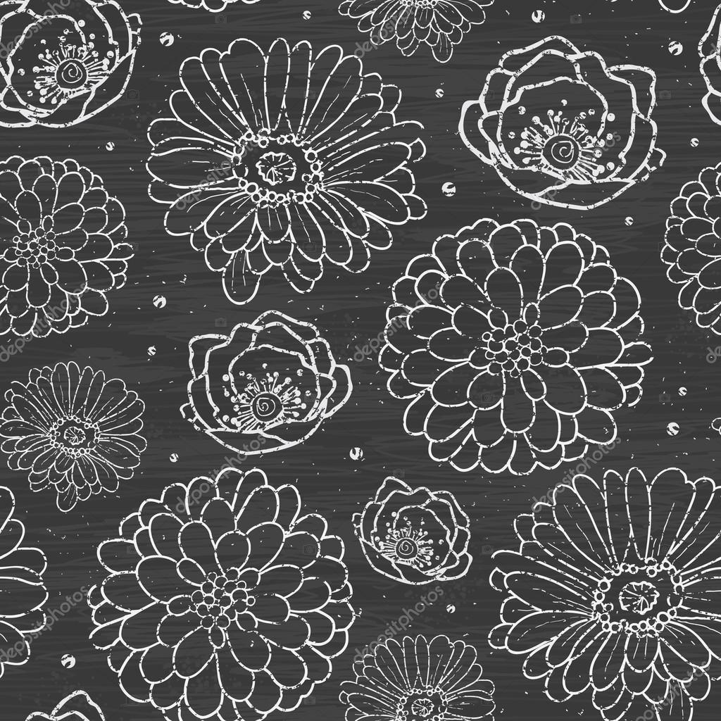 Chalk flowers blackboard seamless pattern background