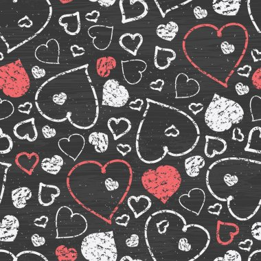 Vector chalkboard art hearts seamless pattern background with hand drawn elements clip art vector
