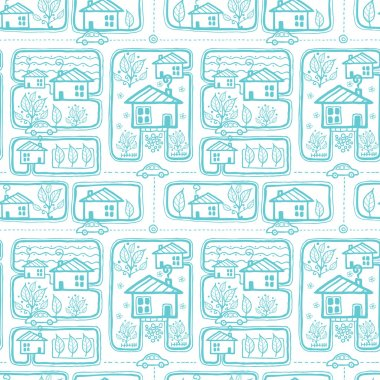 Doodle town streets seamless pattern background