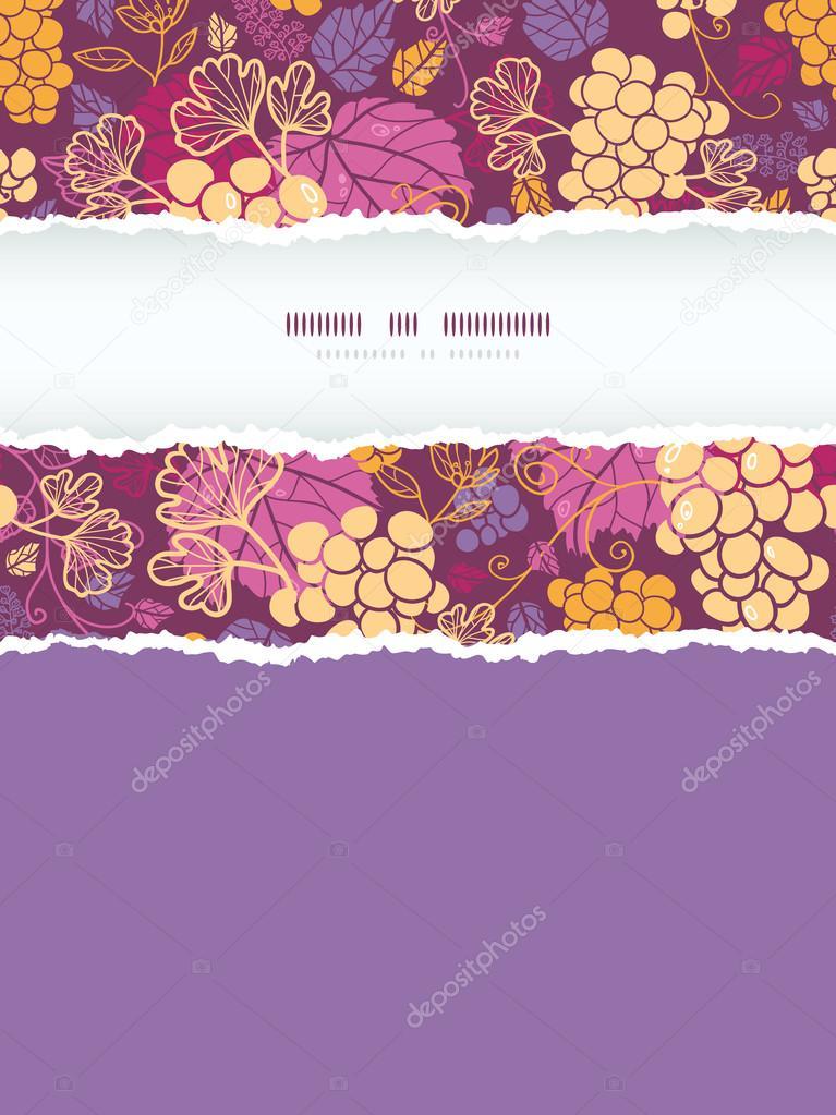 Sweet grape vines vertical torn frame seamless pattern background
