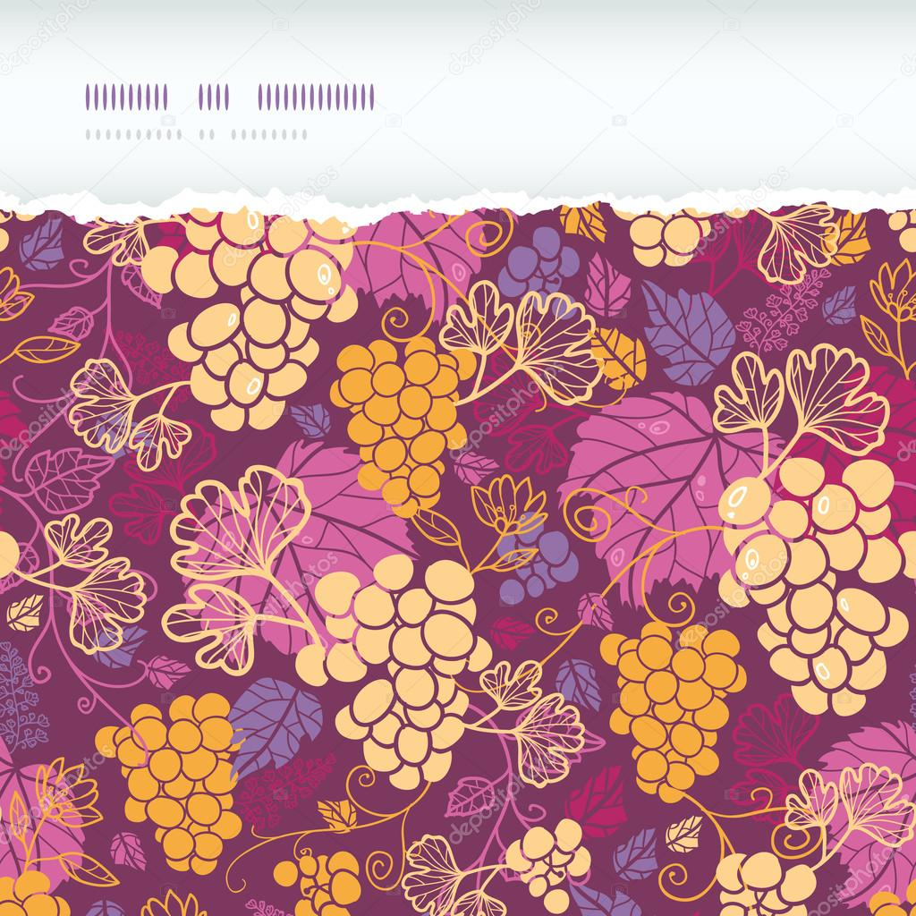 Sweet grape vines horizontal torn border seamless pattern background