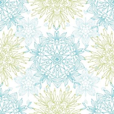 Abstract plants mandalas seamless pattern background