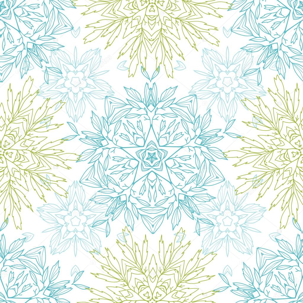 Abstract plants mandalas seamless pattern background