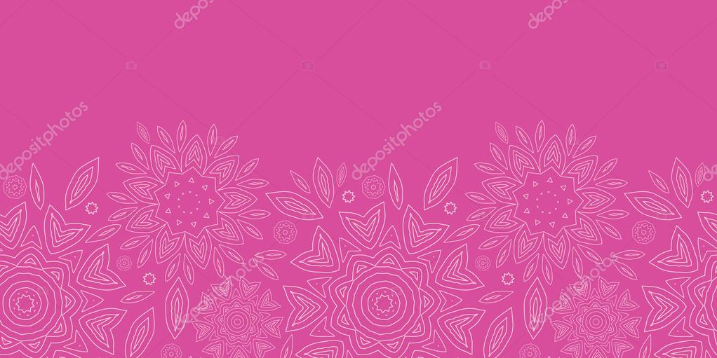 Pink abstract flowers texture horizontal seamless pattern background