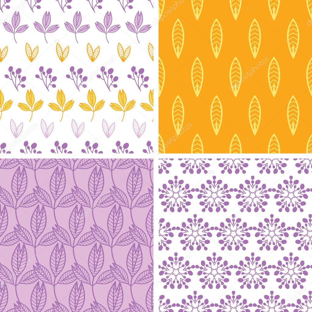 Four abstract pink purple yellow folk leaves seamless pattern background set