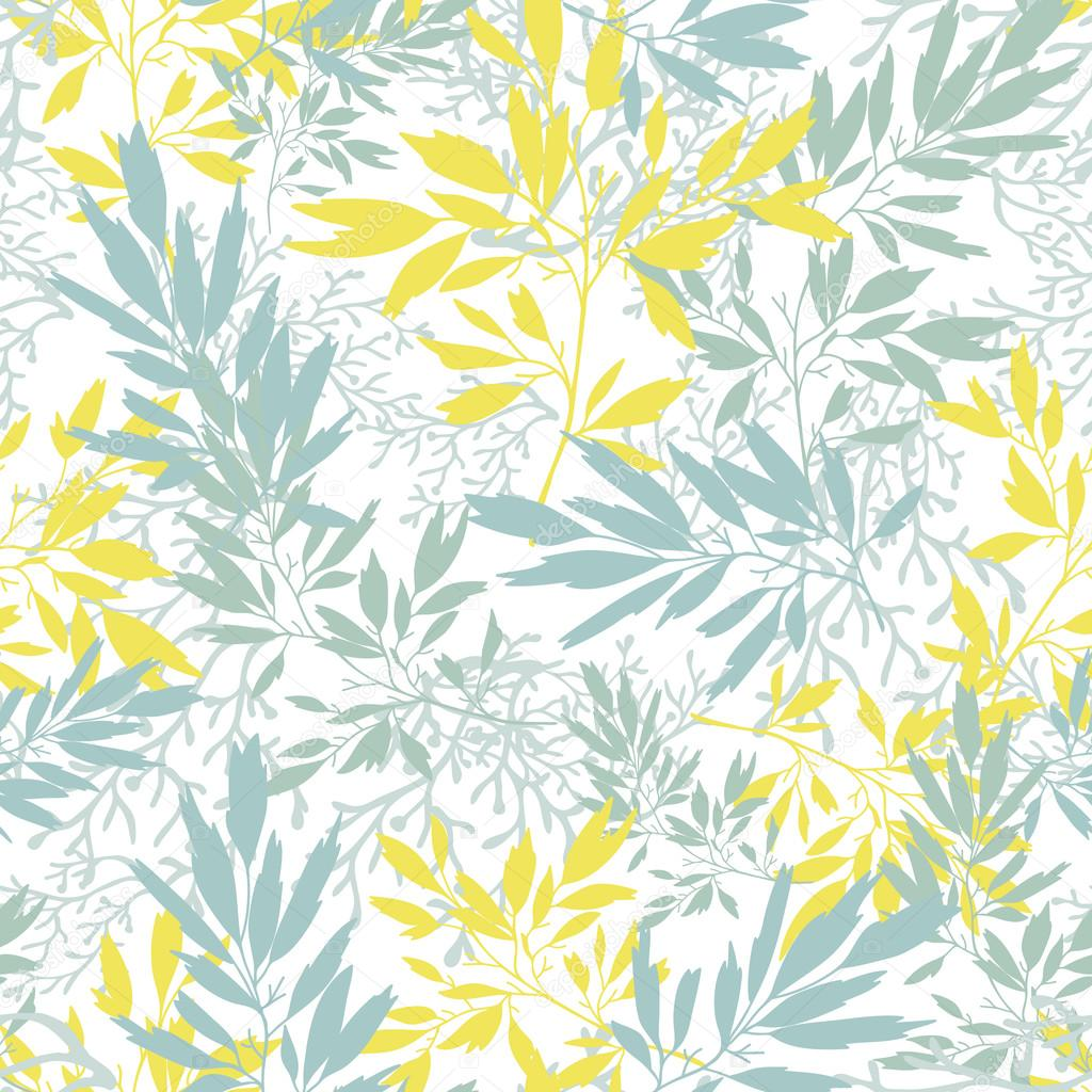 Gray and yellow leaves silhouettes texture seamless pattern background