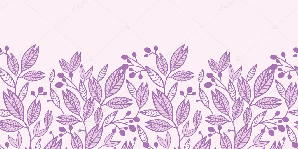 Striped leaves and berries horizontal seamless pattern background