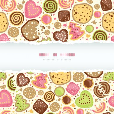 Colorful cookies horizontal torn frame seamless pattern background