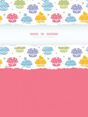 Colorful cupcake party vertical torn frame seamless pattern background