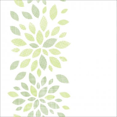 Fabric textured abstract leaves vertical seamless pattern background