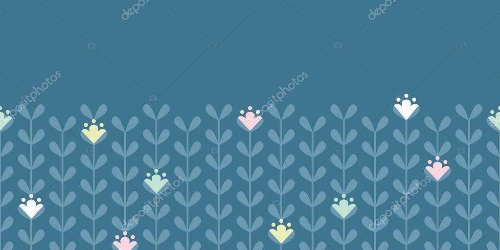 Blloming vines stripes horizontal seamless pattern background
