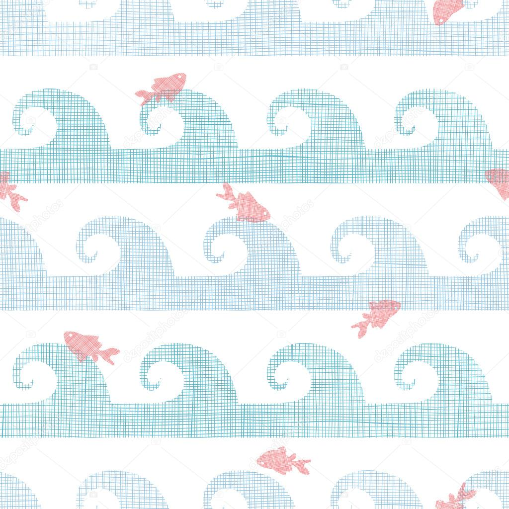 Abstract textile fish among waves seamless pattern background
