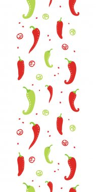 Chili peppers red and green vertical seamless pattern background