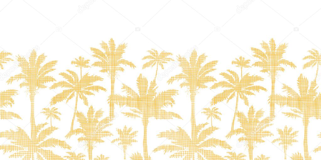 vector palm trees golden textile horizontal seamless pattern background