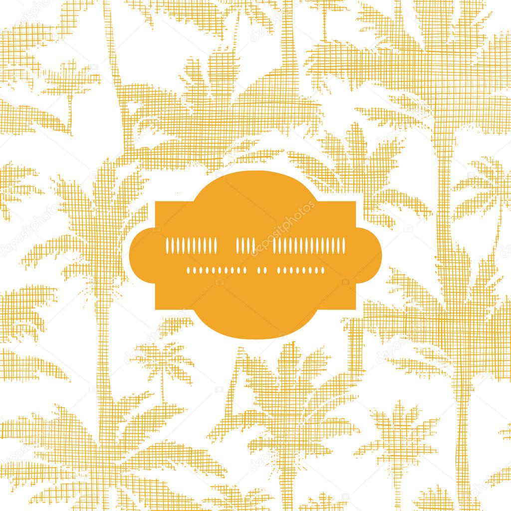 vector palm trees golden textile frame seamless pattern background