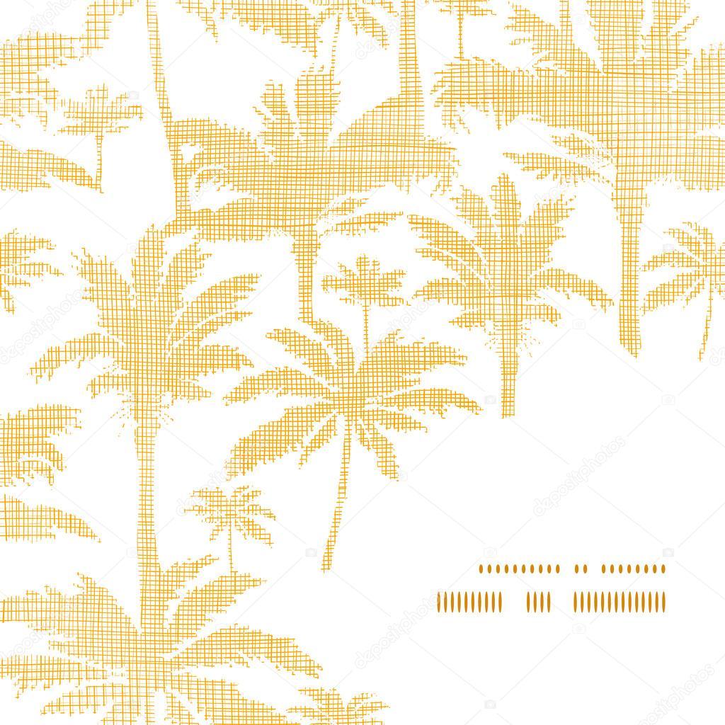 vector palm trees golden textile frame corner pattern background