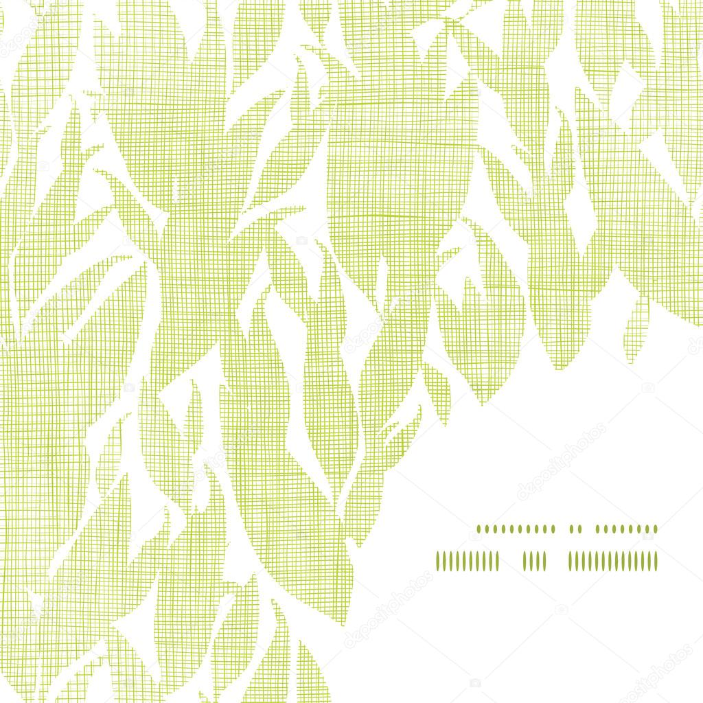 Green leaves textile texture frame corner pattern background