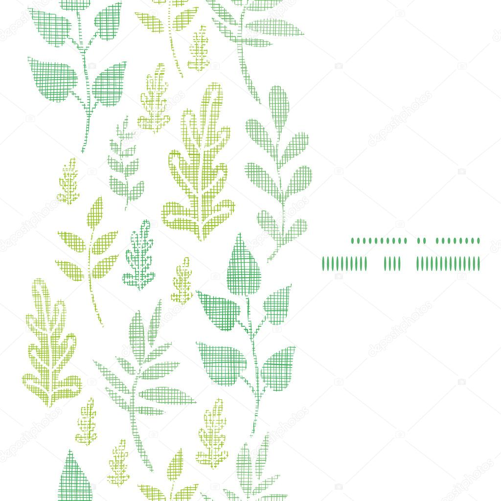 Textile textured spring leaves vertical frame seamless pattern background