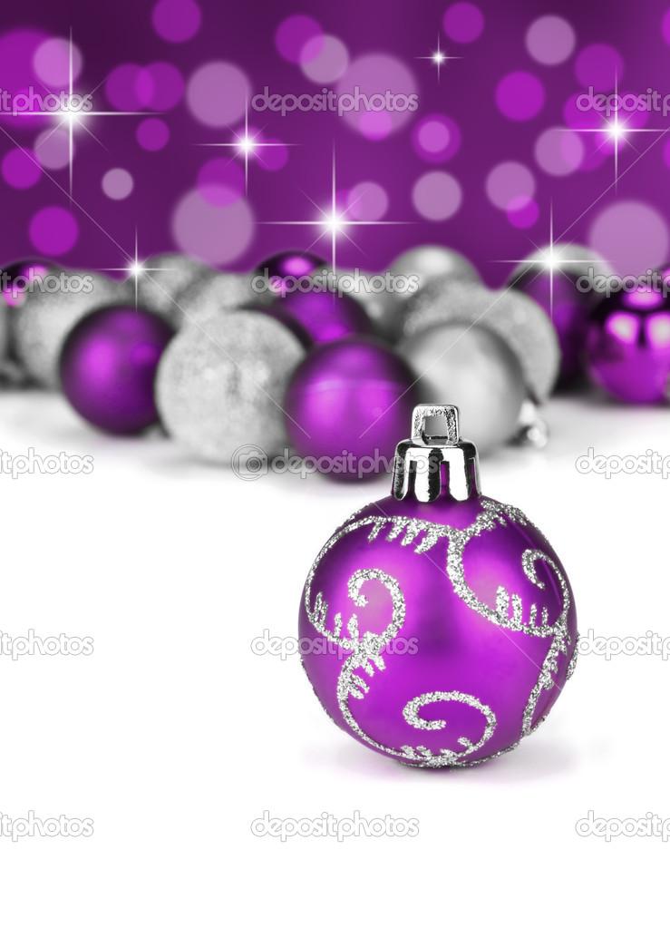 Weihnachtskugeln lila und silber stockfoto 15050599 for Christbaumkugeln lila silber