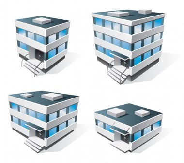 Four office buildings cartoon icons