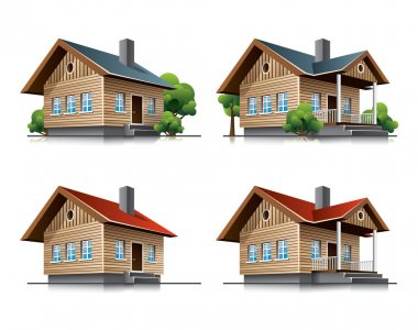 Cottage house cartoon icons