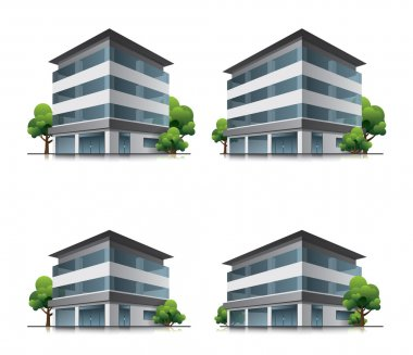 Hotel or office buildings with trees