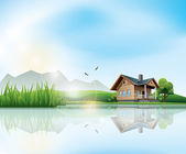 Fotografie dům u jezera
