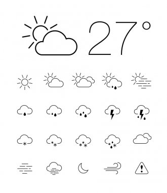 Set of 20 thin and clean outline weather icons for web or mobile use on white background. stock vector
