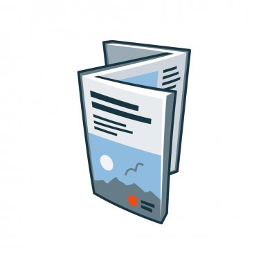 Brochure or flyer icon in cartoon style