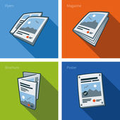 Fotografie Printouts icon set of flyer, magazine, brochure and poster