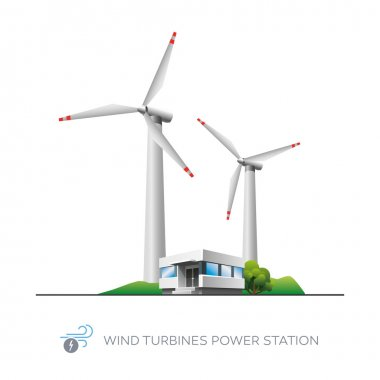 Isolated wind turbines power station icon with office building on white backgroun stock vector