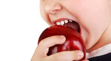 Healthy baby teeth bite ripe red apple