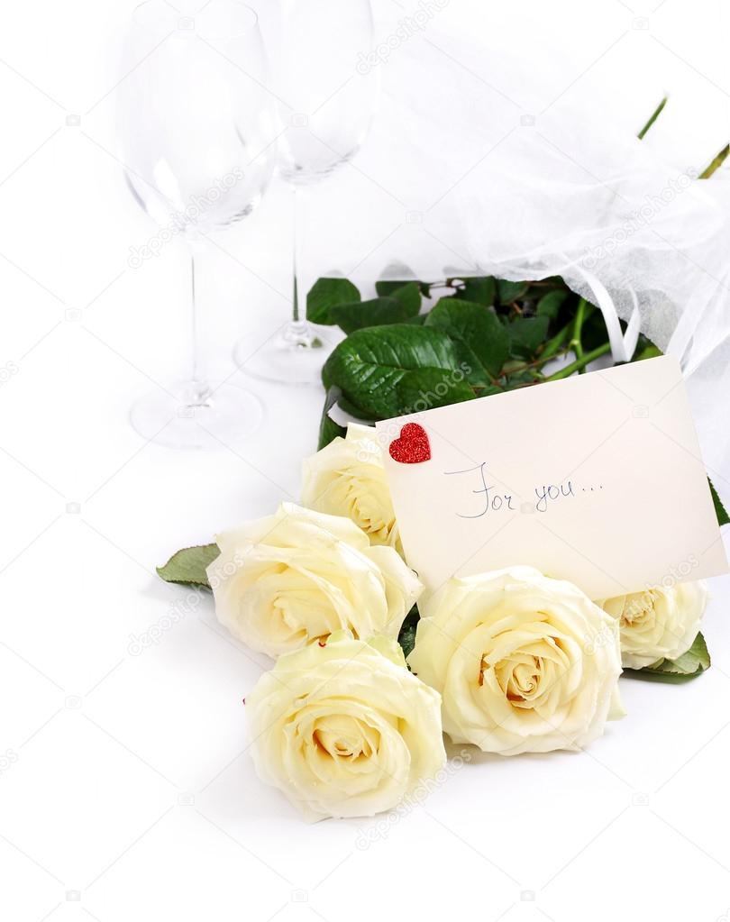 Февраля открытки, картинки белые розы с надписью ленинград