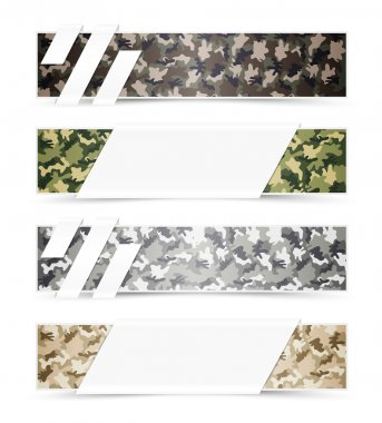 Set of Camouflage Web Banners with White Space stock vector