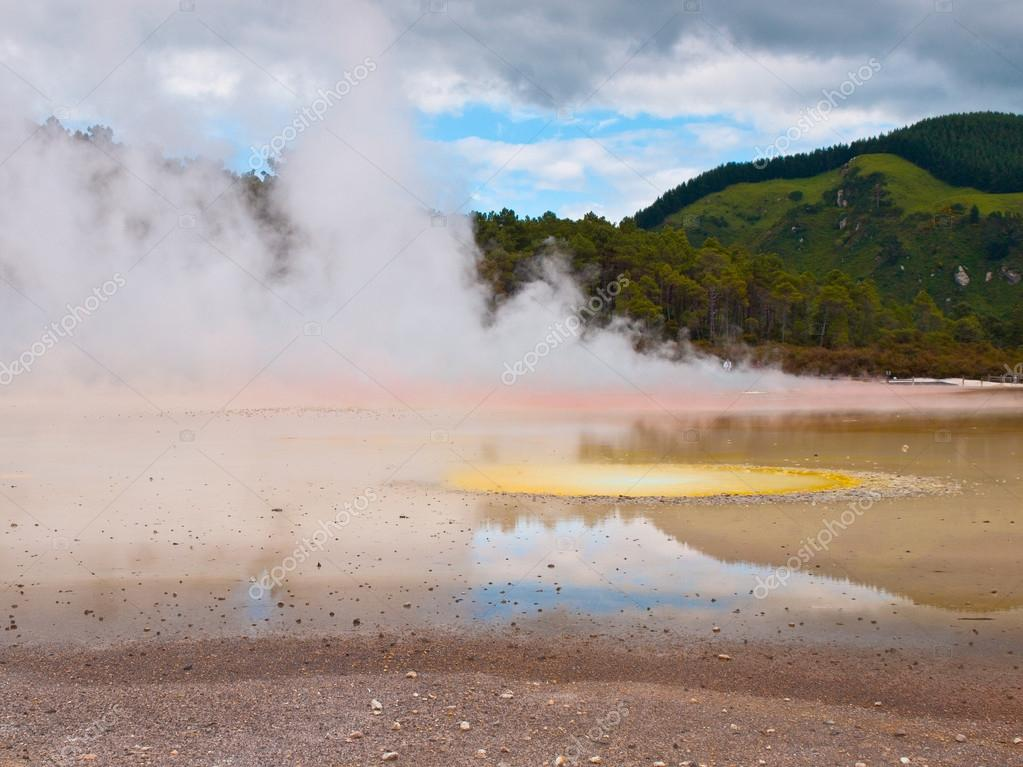 Hot water spring with many colors